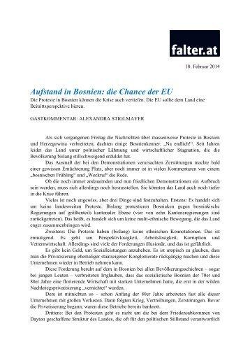 Aufstand in Bosnien: die Chance der EU - European Stability ...