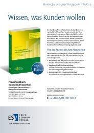 Wissen, was Kunden wollen - Erich Schmidt Verlag