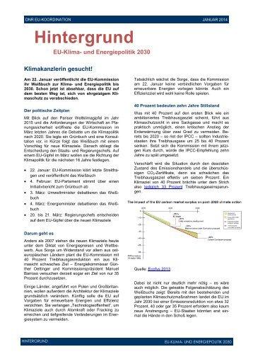 und Energieziele 2030 - EU-Koordination
