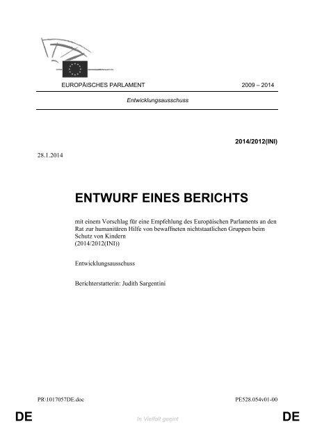 DE DE ENTWURF EINES BERICHTS
