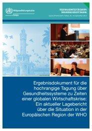 Ergebnisdokument für die hochrangige Tagung über ... - WHO/Europe