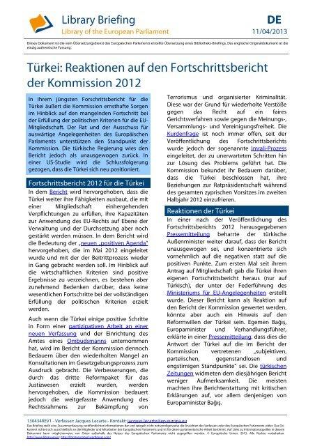 Türkei: Reaktionen auf den Fortschrittsbericht der Kommission 2012