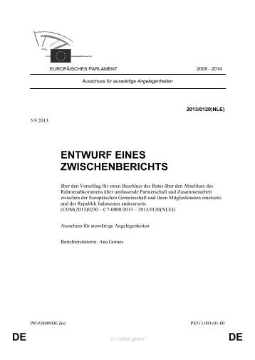 DE DE ENTWURF EINES ZWISCHENBERICHTS - Europa