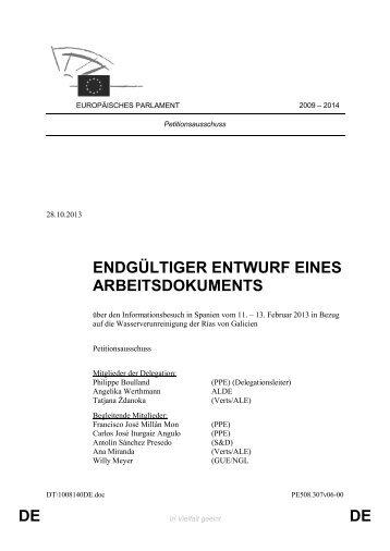 DE DE ENDGÜLTIGER ENTWURF EINES ARBEITSDOKUMENTS