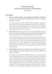 Prof. Dr. Wolfram Kinzig Verzeichnis der wissenschaftlichen ...