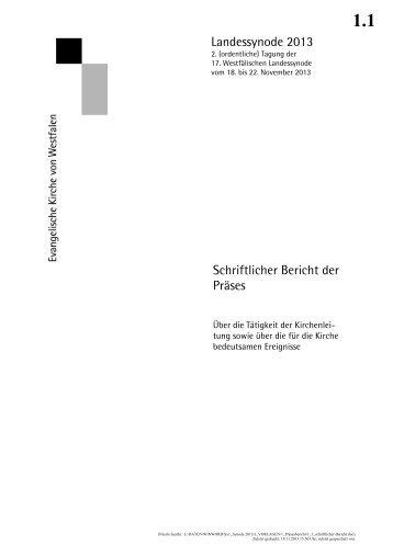 Schriftlicher Bericht - Evangelische Kirche von Westfalen