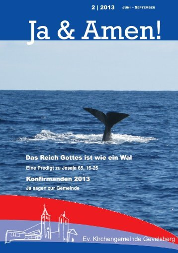 Gemeindebrief 2 2013 - der evangelischen Kirchengemeinde ...