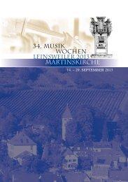 34. MUSIK WOCHEN LEINSWEILER 2013 Martinskirche