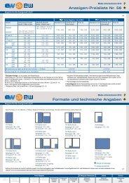Anzeigen-Preisliste Nr. 56 Formate und technische ... - EW Medien