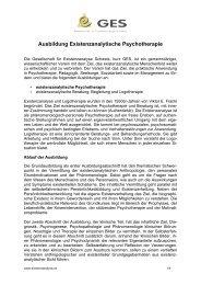 Ausbildung Existenzanalytische Psychotherapie - GES Schweiz