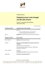 Delegationsreise in den Senegal und die Côte d'Ivoire