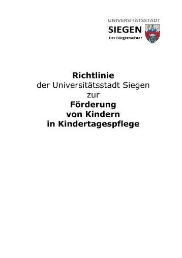 Richtlinie der Universitätsstadt Siegen zur ... - Familie in Siegen
