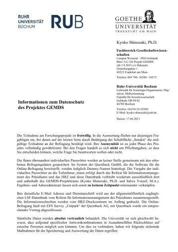 Informationen zum Datenschutz - Goethe-Universität
