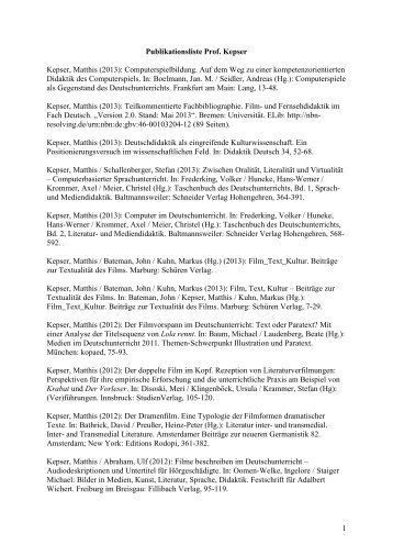 Publikationsliste als PDF-Dokument