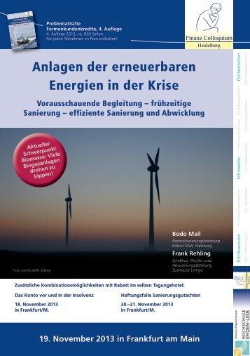 Anlagen der erneuerbaren Energien in der Krise - Finanz ...