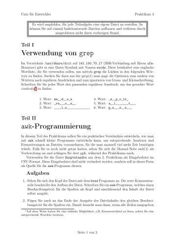 Verwendung von grep awk-Programmierung
