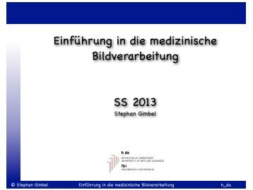Einführung in die medizinische Bildverarbeitung SS 2013