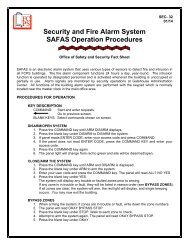 Security and Fire Alarm System SAFAS Operation Procedures