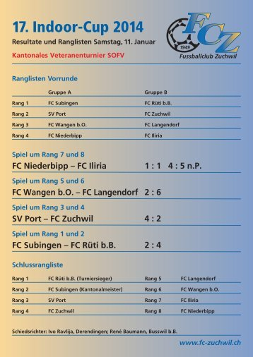Ranglisten Samstag - FC Zuchwil