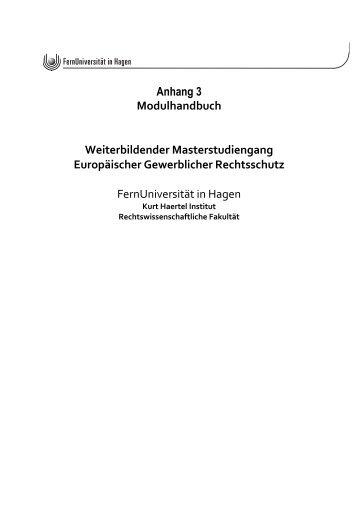 Modulhandbuch - LL.M. (Europäischer Gewerblicher Rechtsschutz)