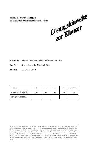 März 2013 - Klausur - Lösungshinweise - FernUniversität in Hagen