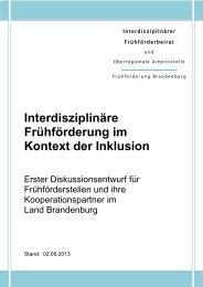 Interdisziplinäre Frühförderung im Kontext der Inklusion