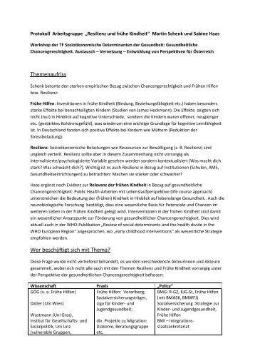 AG Resilienz und Frühe Kindheit - Protokoll - Fonds Gesundes ...