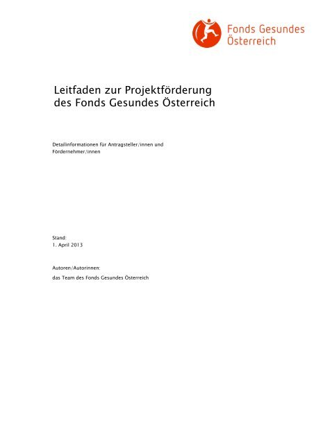 Leitfaden zur Projektförderung des Fonds Gesundes Österreich