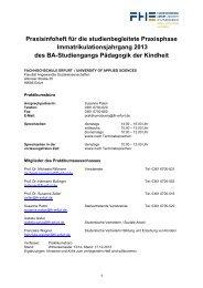 Praxisinfoheft Immajahrgang 2013 - Fachhochschule Erfurt