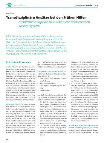 Transdisziplinäre Ansätze bei den Frühen Hilfen - Fachhochschule ...