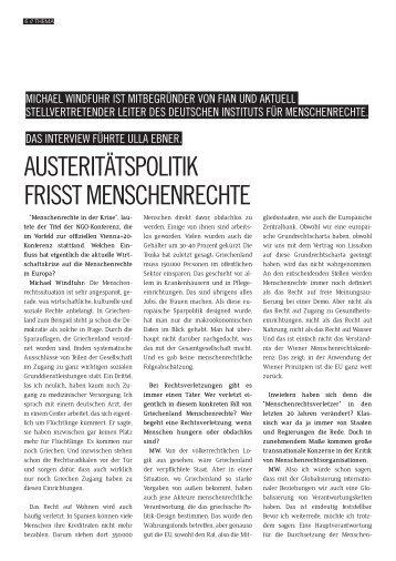 austeritätspolitik frisst menschenrechte - FIAN Österreich