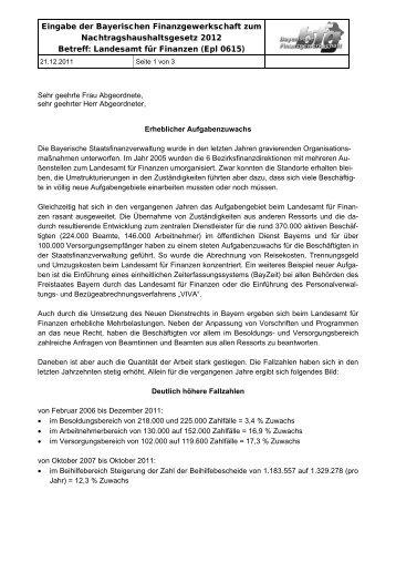 2011/12: Eingabe bfg - Nachtragshaushaltsgesetz 2012 b