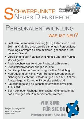 Schwerpunkte Neues Dienstrecht - Bayerische Finanzgewerkschaft