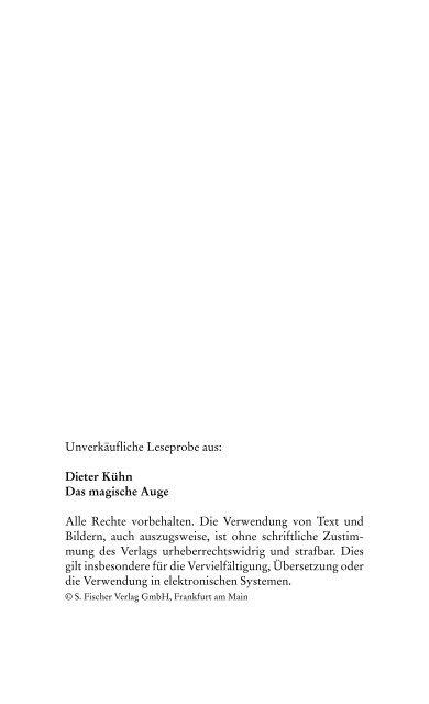 """Dieter Kühn: """"Das magische Auge"""" - S. Fischer Verlage"""