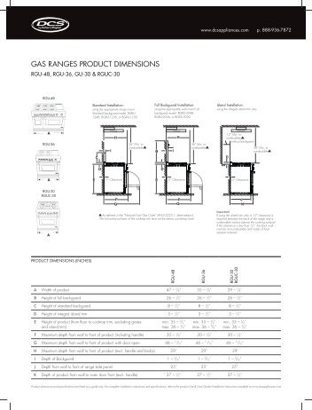 GAS RANGES PRODUCT DIMENSIONS - Fisher & Paykel