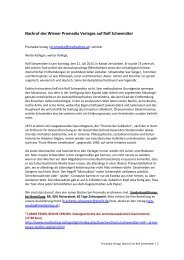 Promedia Verlag: Nachruf auf Rolf Schwendter