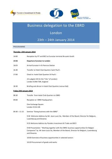 Business delegation to the EBRD - Flanders Investment & Trade