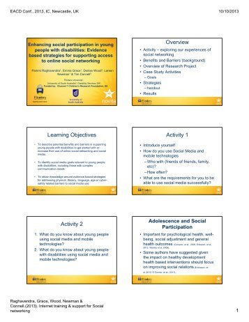 Overview Learning Objectives Activity 1 Activity 2 - Flinders University