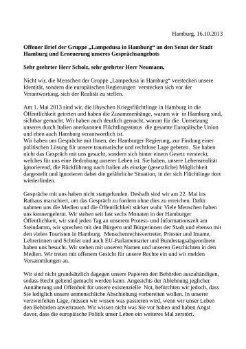 """Offener Brief der Gruppe """"Lampedusa in Hamburg"""" an den Senat ..."""