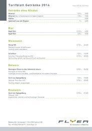 Tarifblatt Getränke 2014 - Flyer
