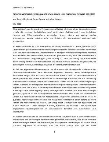 DIE INTERNATIONALE EXPANSION DER HOCHLAND SE – EIN ...