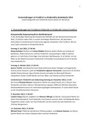 Überblick über die Hindemith Konzerte 2013 - Frankfurt am Main