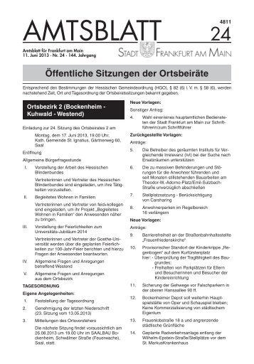 Amtsblatt Nr. 24/2013 S. 685 - 720 (pdf, 2.3 MB) - Frankfurt am Main