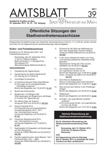 Amtsblatt Nr. 39/2013 S. 1153 - 1192 (pdf, 2.6 MB) - Frankfurt am Main