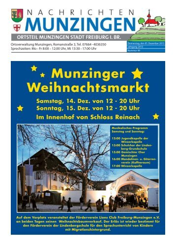 Munzinger Weihnachtsmarkt - Stadt Freiburg im Breisgau
