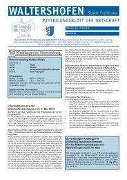 Informationen aus der Ortschaftsratssitzung vom 7. Mai 2013 ...