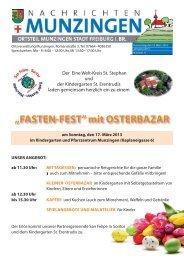 """""""FASTEN-FEST"""" mit OSTERBAZAR - Stadt Freiburg im Breisgau"""