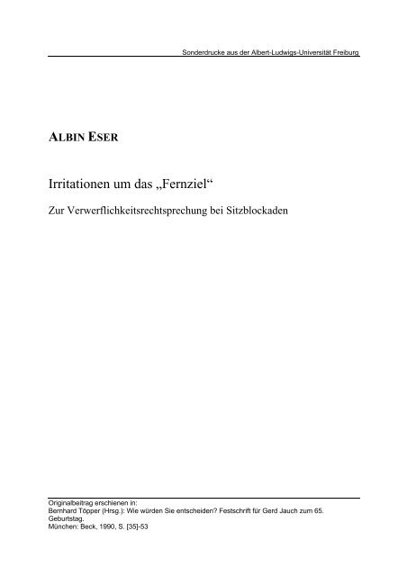 "Irritationen um das ""Fernziel"" - FreiDok - Albert-Ludwigs-Universität ..."