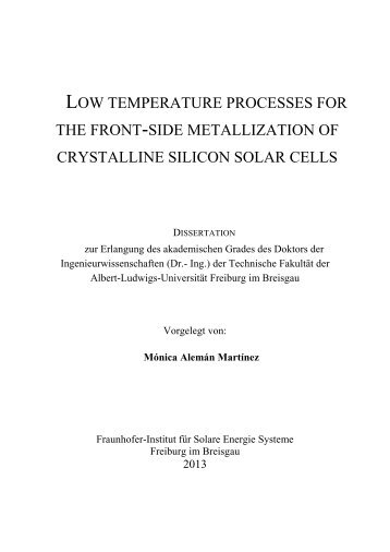 low temperature processes for the front-side metallization ... - FreiDok