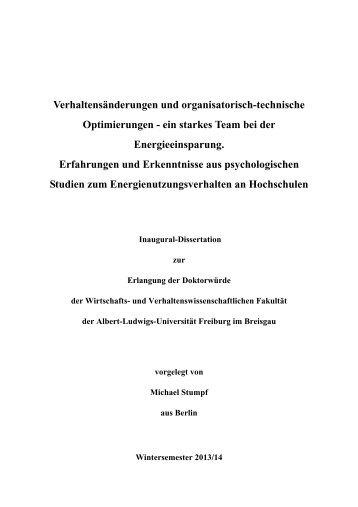 Verhaltensänderungen und organisatorisch-technische ... - FreiDok